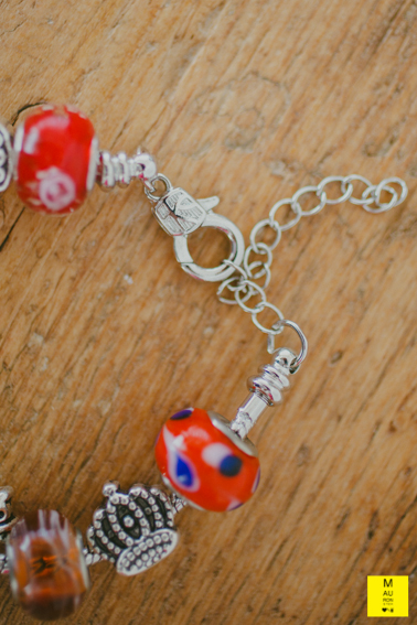bracciale charms rosso pois